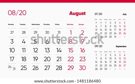 AUGUST PAGE. 12 Months Premium 2020 Calendar Design Grid Set. Table, Wall, Desk, Quarter Diary Calendar 2020 Year Design. Clean and Minimal Diary Planner Design Layout.