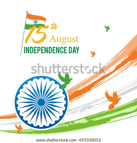August 15th, Indian Independence Day Vector illustration, Indian flag and Ashoka chakra wheel (spinning wheel) on watercolor brush stroke background.