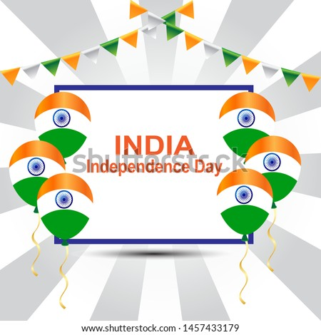 August 15, the concept of celebrating Indian Independence Day with balloons and boxes for text