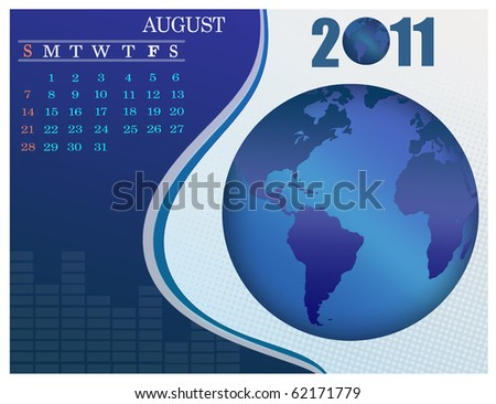 August - the Earth blue calendar for 2011, weeks starts on Sunday. Business Calendar.