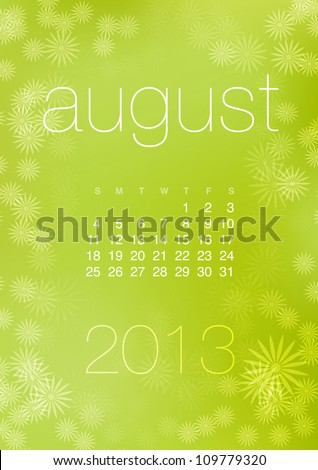 August 2013 vector calendar grid on bright green abstract starry background - stock vector