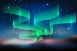 Aurora blue sky and a lot of star in form of milky way, astronomy background, Vector illustration