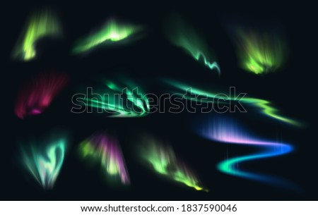 Aurora northern, polar and southern lights realistic vector on night sky background. Aurora polaris, borealis and australis with green, blue, pink and purple neon lights, shining rays and swirls Stock photo ©