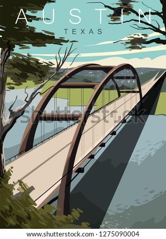 austin bridge modern vector