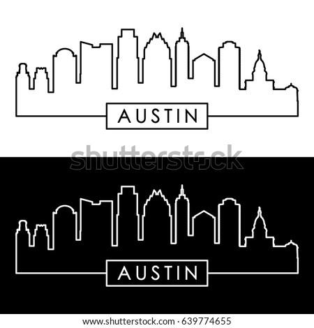 Austin skyline. Linear style. Editable vector file.