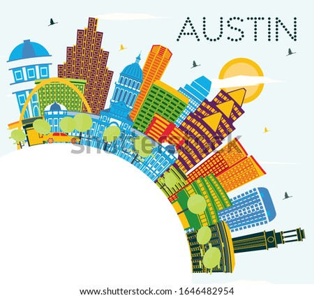 Austin Texas City Skyline with Color Buildings, Blue Sky and Copy Space. Vector Illustration. Business Travel and Tourism Concept with Modern Architecture. Austin Cityscape with Landmarks.