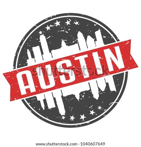Austin Texas Round Travel Stamp Icon Skyline City Design