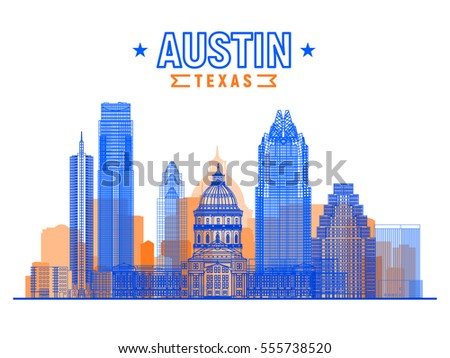Austin (Texas USA) city skyline vector background. Flat vector illustration. Business travel and tourism concept with modern buildings. Image for banner or web site.