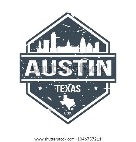 Austin Texas USA Travel Stamp Icon Skyline City Design