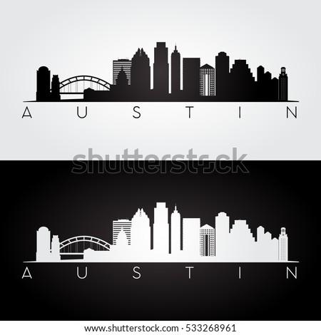Austin USA skyline and landmarks silhouette, black and white design, vector illustration.