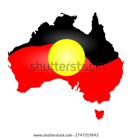 Australia Aboriginal flag, map, continent isolated on white background. Australia Aboriginal day. Naidoc week. Union jack.Reconciliation Day. Australia map in traditional aboriginal flag colors.Vector