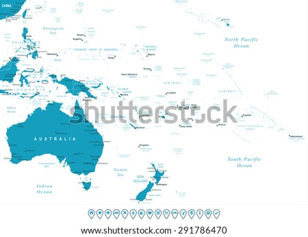 australia and oceania   map and