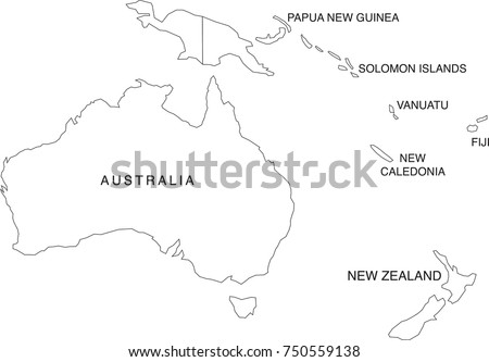 Australia and Oceania Map Coloring Book Outlines (Labels in Separate Layer)