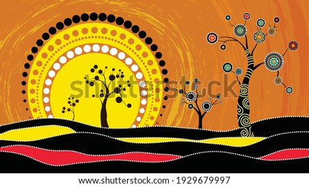 Australia art vector background. A illustration based on aboriginal style of dot painting depicting circle background. It can be used for wallpaper, web page, fabric, paper, postcards. Photo stock ©