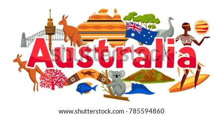 Australia banner design. Australian traditional symbols and objects.