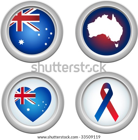 Australia Buttons with ribbon, heart, map and flag