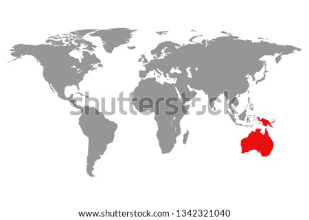Australia continent red marked in grey silhouette of World map. Simple flat vector illustration.