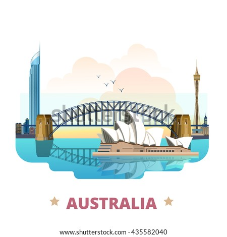 australia country flat cartoon
