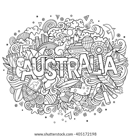 Australia country hand lettering and doodles elements and symbols background. Vector hand drawn sketchy illustration