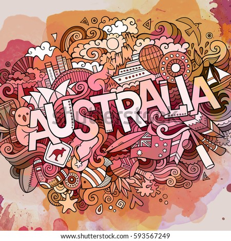 Australia country hand lettering and doodles elements and symbols background. Vector hand drawn watercolor illustration