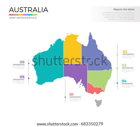 Colorful Australia Map With Regions Download Free Vector Art - Australia map infographic