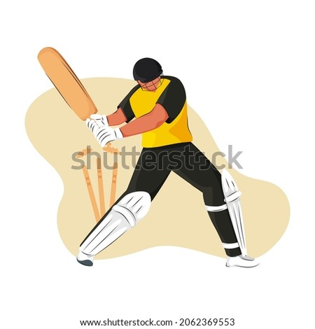 Australia Cricket Batter Losing His Wicket On Yellow And White Background.