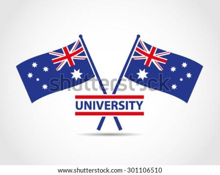 australia crossed flags emblem