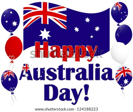 Australia Day background with flags and Australia flag balloons. Vector illustration.