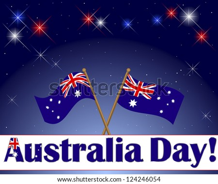 Australia Day. Celebratory background with a banner, fireworks and flags. Vector illustration.