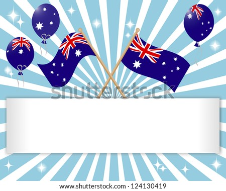 Australia Day. Festive banner with flags and balloons. 10 EPS. Vector illustration.