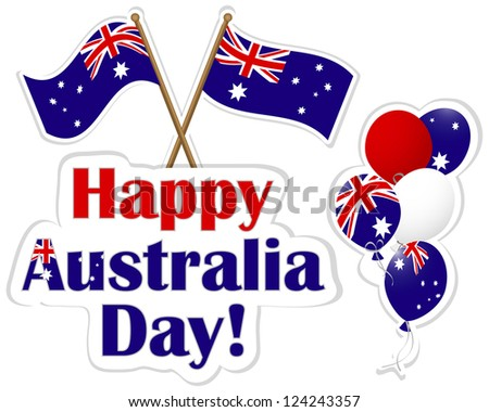 Australia Day stickers, flags and balloons. 10 EPS. Vector illustration.