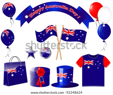 Australia day. Website icons. (flag, balloon, t-shirt, buttons, gift, hat ) EPS10. Vector illustration.