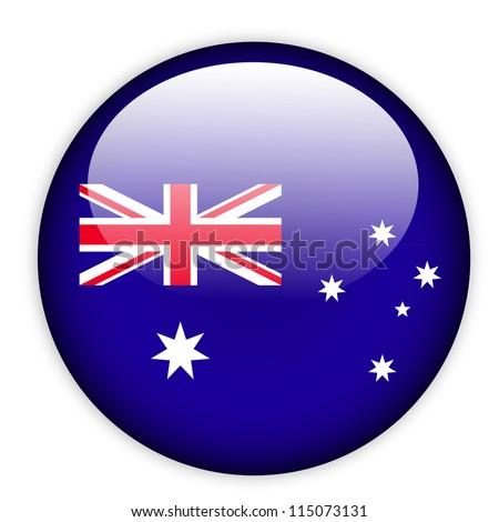 Australia flag button on white