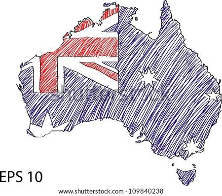 Australia Flag Map Vector Sketch Up, EPS 10. - stock vector
