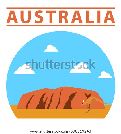 Australia flat illustration, vector, landmark, nature, Ayers Rock
