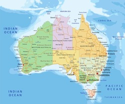 Australia - Highly detailed editable political map with separated layers.