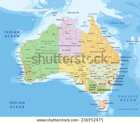 Australia Map Vector Download Free Vector Art Stock Graphics - Detailed map of australia