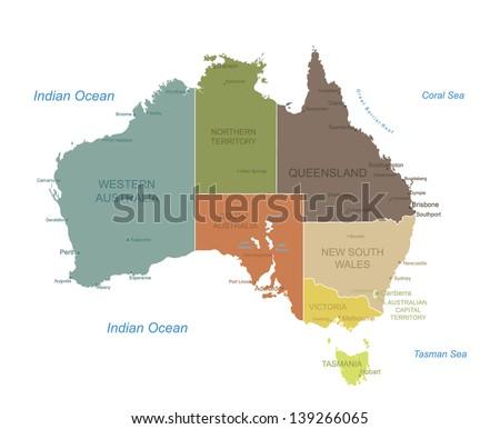 Australia Map Vector Download Free Vector Art Stock Graphics - Australia detailed map