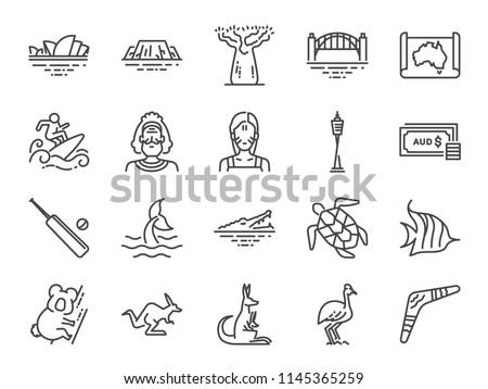Australia icon set. Included icons as Australian aboriginal, indigenous, kangaroo, koala bear, surfing, Sydney and more.