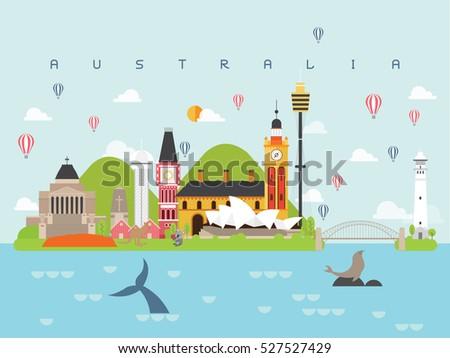 Australia Landmarks Travel and Journey Vector