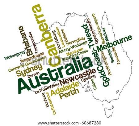 Australia map and words cloud with larger cities - stock vector