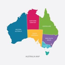 AUSTRALIA MAP COLOR WITH REGIONS flat design illustration vector