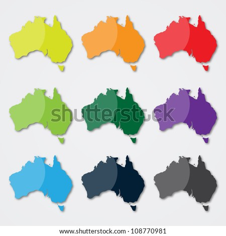 Australia Map in Different Colors