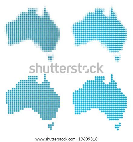 Australia map mosaic set. Isolated on white background.