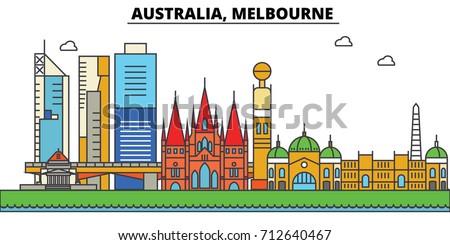 Australia, Melbourne. City skyline: architecture, buildings, streets, silhouette, landscape, panorama, landmarks. Editable strokes. Flat design line vector illustration concept. Isolated icons set