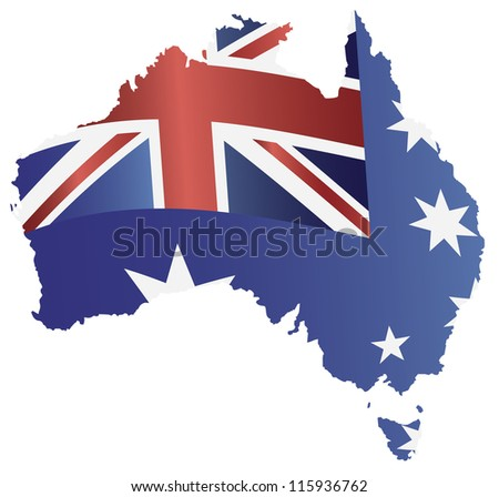 Australia New South Wales Flag in Country Map Silhouette Isolated on White Background Vector Illustration