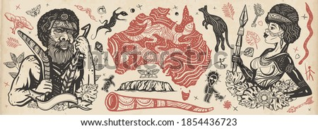 Australia. Old school tattoo vector collection. Aboriginal tribes bushmen. Boomerang, kangaroo, didgeridoo, map. Tradition, people, culture. Ethnic Australian woman in traditional costume