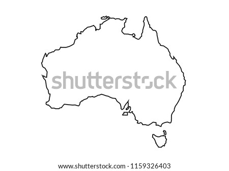 Australia Map Outline Vector.Australia Map Geography Shape Vector Icon Download Free Vector Art