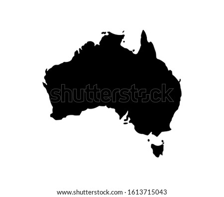 Australia vector icon isolated. Flat vector illustration. Australia black icon. Black Australia map. Geography concept.