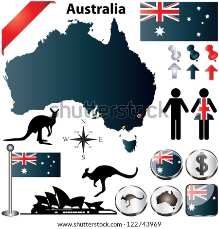 Australia vector set with country shape, flags and symbols on white background